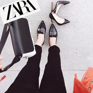 Zara Leather Pointed Toe Loafers